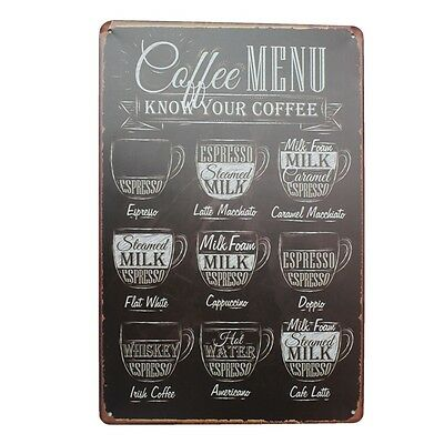 Cafe Menu Tin Sign Vintage Metal Plaque Bar Pub Wall Decor