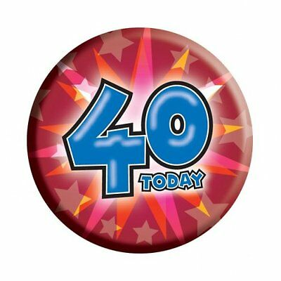 Amscan I AM 40 Forty Happy 40th Birthday Badge Unisex Girls Boys 61mm Diameter