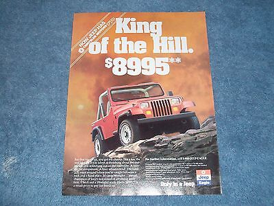 """1989 Jeep Wrangler Vintage AD """"King of the Hill"""""""