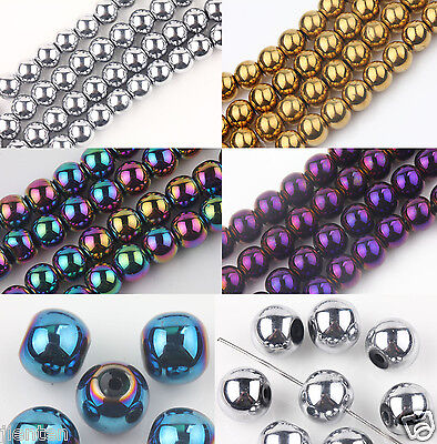 Metallic Luster Round Czech Crystal Glass Loose Spacer Bead Finding 6/8/10/12MM