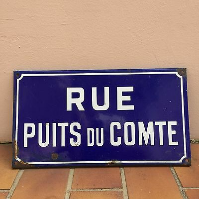 Old French Street Enameled Sign Plaque - compte