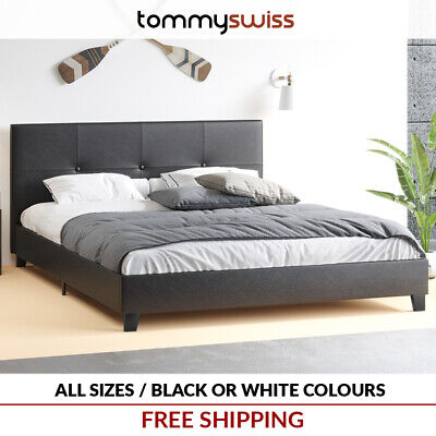 TOMMY SWISS: PREMIUM King & Queen Size Premium Fabric Upholstered Wing Bed Frame