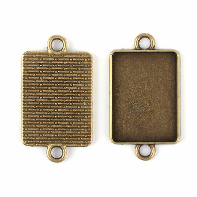 10X Vintage Alloy Connector Cabochon Bezel Setting AntiqueBronze Rectangle Tray