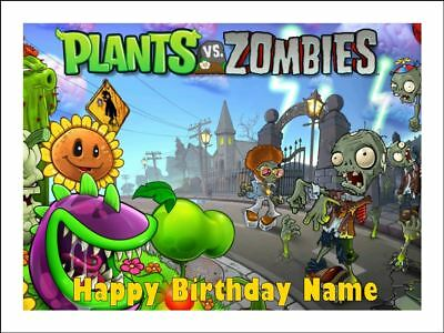 PLANTS vs ZOMBIES A4 Edible Icing Birthday Cake Party Decoration Topper #2