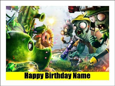 PLANTS vs ZOMBIES A4 Edible Icing Birthday Cake Party Decoration Topper #3