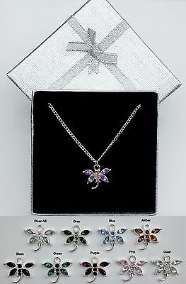 Silver Plated Crystal Dragonfly Pendant Necklace Bridesmaid Flower Girl Gift Box