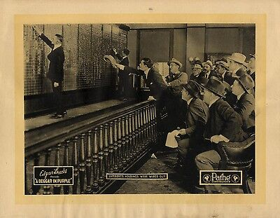 BEGGAR IN PURPLE, A (1920) Lobby card depicting early stock exchange imagery NF