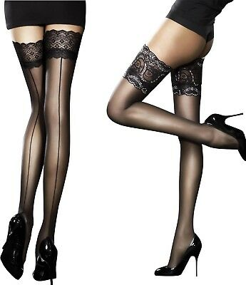 Fiore Sandrine and Celia Sensuous Sheer Lace Top Hold Ups Stockings S M L new