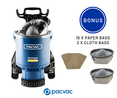 Pacvac Superpro 700 Backpack Vacuum Cleaner with 2x Cloth and 15x paper bags
