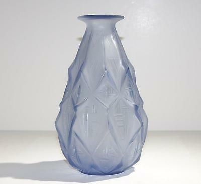 Art Deco Sabino French Opalescent Frosted Icy Blue Glass Vase circa 1930