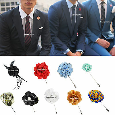 NEW Mens Corsage Boutonniere Lapel Pin Flower Wedding Black Red Green White Blue