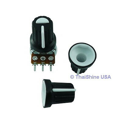 5 x Black Knob with White Pointer - Soft Touch - USA Seller - Free Shipping
