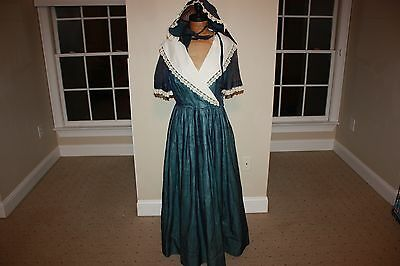 Women's Prairie Dress Pioneer with Bonnet Medium 6-8-10 Custom Handmade Blue