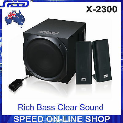 SPEED X-2300 2.1 Stereo Speaker System for Desktop PC, MP3, iPad, iPhone
