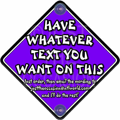 DIY PURPLE & WHITE ~ Personalise with your own words! Baby on Board Car Sign