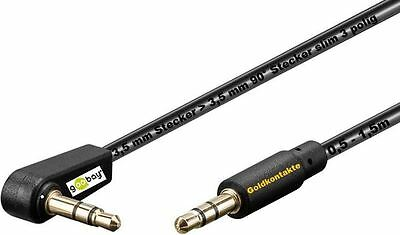 goobay® Winkel Klinke 3,5mm Stereo Stecker 3,5 mm 90° Slim AUX Kabel Goldkontakt