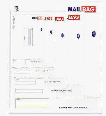Mail Bag`s Strong Polythene Envelope from 160mm x 230mm to Giant 500x 650mm