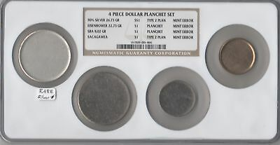 Four Pc. Dollar Mint Error Planchet Set NGC Super-Slab!