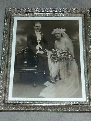 "Vintage Early 1900's Framed Wedding Photo Approx 24"" X 20"" Very Nice"