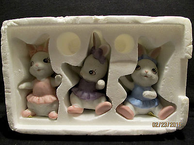 Set of 3 Girl Bunny Figurines by Homco #1418 – Easter Spring Decor