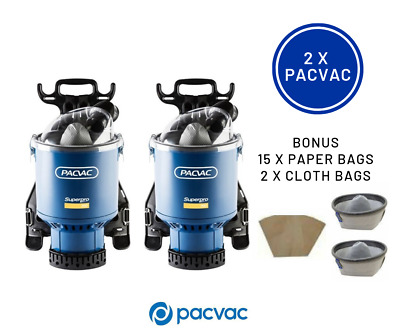 2x Pacvac Superpro700 Backpack Vacuum Cleaners each with 2x Cloth and 15x paper