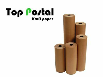 10m x 450mm STRONG BROWN KRAFT WRAPPING PAPER ROLL 90gsm