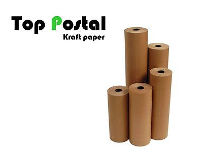 20m x 500mm STRONG BROWN KRAFT WRAPPING PAPER ROLL 90gsm