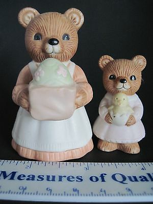 Easter Figurine set of 2 Mother Daughter Homco Porcelain Child Holiday Gift w2