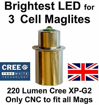 MAGLITE LED UPGRADE CREE CNC BULB 3 D/C cell Flashlight/ Torch 3d