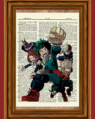 My Hero Academia Anime Dictionary Art Print Picture Todoroki Midoryia Bakugou