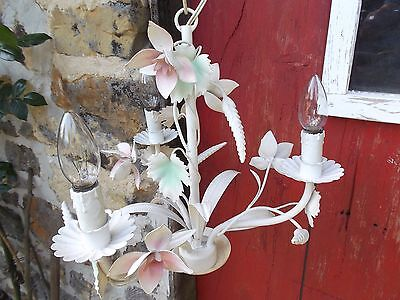French vintage chandelier tole 3 light pastel colour floral pink green charming