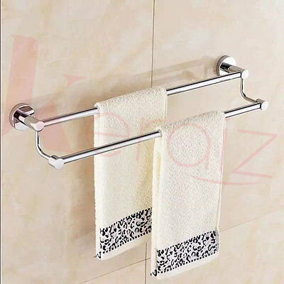 Towel Rail Rod Double 24 inches SS Chrome Finish Wall Mounted Easy Fit By Wesda