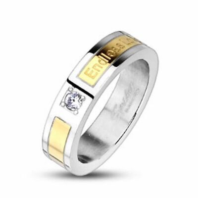 Finger Ring Ladies Stainless Steel Ring Silver Gold Zirconia Endless Love