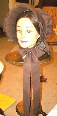 Civil War Dress Victorian Accessories Lady's Brown 100% Cotton Slat~Sun Bonnet