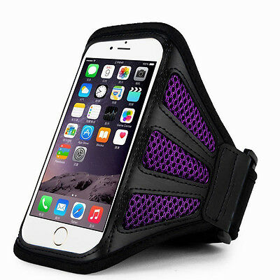 """iPhone 6 Plus 5.5"""" Purple Mesh Running, Jogging, Cycling Armband Mobile Phone Co"""