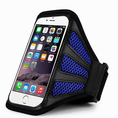 """iPhone 6 Plus 5.5"""" Blue Mesh Running, Jogging, Cycling Armband Mobile Phone Cove"""