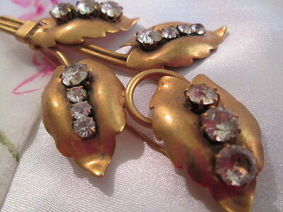 Vintage Art Deco Gilded Metal 'Clear Crystal Rhinestones Bouquet Brooch Jewelry
