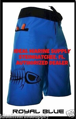 Tormenter Blue Premium Fishing Board Shorts 28-46 Nuff's Face & Neck Shields too