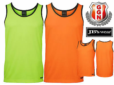 3x JBS HI VIS SINGLET,SAFETY WORKWEAR,SIDE CONTRAST PANEL,COOL DRY FABRIC 6HCS4