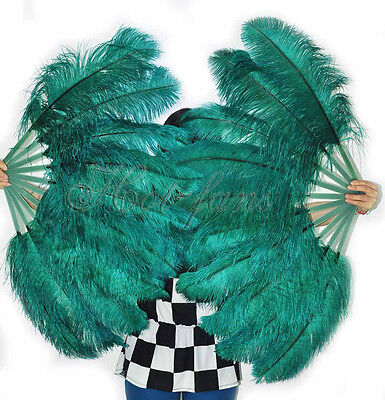 "A pair Teal Single-layer Ostrich Feather fan 24""x41"" burlesque dancer"