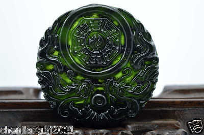 100% China's natural  jade nephrite carving black jade pendant Double Dragon