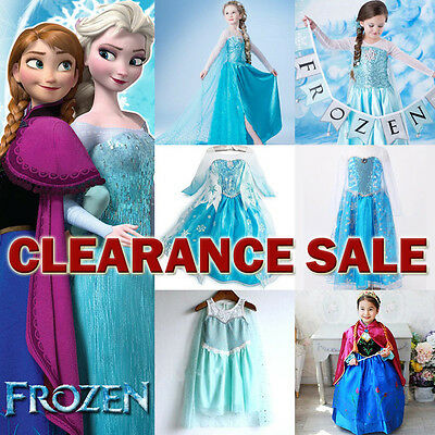 Girl Disney FROZEN Queen ELSA Princess ANNA Birthday Costume Dress Up 2-10Y