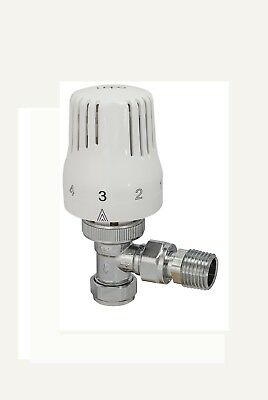 Thermostatic Radiator Valve Angled White & Chrome Fits Both 15mm & 10mm Pipes
