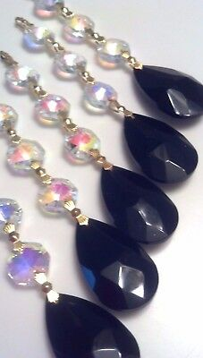 BLACK Teardrop Chandelier Crystals Ornaments Iridescent AB - Teardrop chandelier crystals