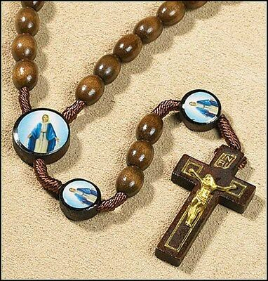 """Our Lady of Grace Corded Wood Rosary NEW in package (TS288) 19"""" Long"""