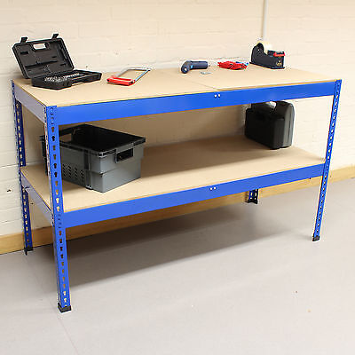 1.5m Blue Heavy Duty Steel Work Bench/Station/Shelves for Garage/Warehouse/Shed