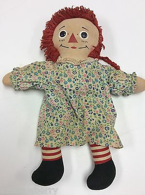 """Vintage Cloth Raggedy Ann Doll Leather Button Eyes Painted Face 16"""" Tall"""