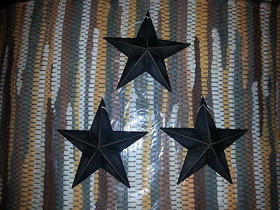 "Set of 3 Primitive Black 5.5"" Metal Barn Star - Ornaments, Crafting, Decorate!"