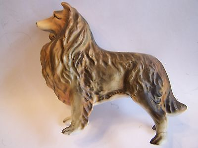 "DOG Ceramic ROUGH COATED COLLIE Statue 5 1/2"" long / also ornament"