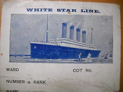 1916 HMHS BRITANNIC MEDICAL CARD-USED ON BOARD SHIP - TITANIC-OLYMPIC SISTER
